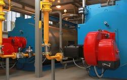 Blauwe boilers en rode gasfornuizen Stock Foto's