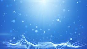Blauwe bokehlichten en golvende lijnen abstracte achtergrond Royalty-vrije Stock Afbeeldingen