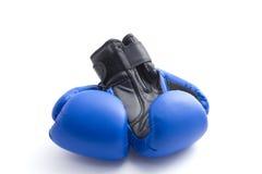 Blauwe bokshandschoenen. Stock Foto's