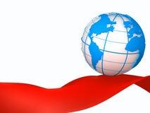 Blauwe bol en rode band royalty-vrije stock afbeelding