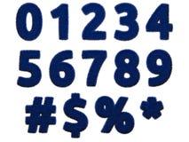 Blauwe bontcijfers en symbolen op witte achtergrond Geïsoleerde digitale illustratie het 3d teruggeven Stock Afbeeldingen