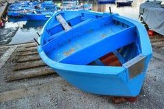 Blauwe boten Stock Foto