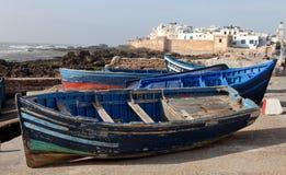 Blauwe boten in Essaouira Royalty-vrije Stock Foto