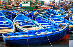 Blauwe boten van Essaouira, Marokko Stock Afbeelding