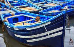 Blauwe boten van Essaouira, Marokko Royalty-vrije Stock Afbeeldingen