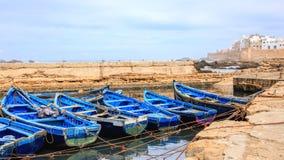 Blauwe boten van Essaouira, Marokko Royalty-vrije Stock Afbeelding