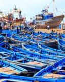 Blauwe boten van Essaouira, Marokko Royalty-vrije Stock Foto