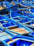 Blauwe boten van Essaouira, Marokko Stock Foto