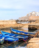 Blauwe boten van Essaouira, Marokko Royalty-vrije Stock Fotografie
