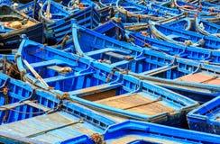 Blauwe boten van Essaouira, Marokko Stock Fotografie