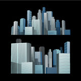 Blauwe bouwstad voor zwarte achtergrond Royalty-vrije Stock Fotografie