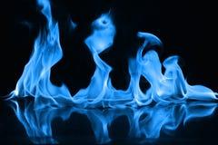 Blauwe brandvlammen op een zwarte achtergrond Stock Afbeeldingen