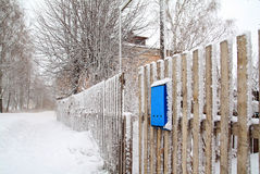 Blauwe brievenbus Stock Afbeelding
