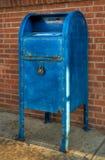 Blauwe Brievenbus - het Recht van de Hoek Royalty-vrije Stock Afbeeldingen