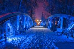 Blauwe brug van Bals, bij nacht Stock Foto