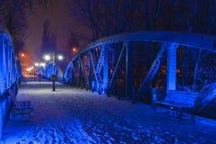 Blauwe brug van Bals, bij nacht Stock Fotografie