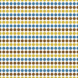 Blauwe, Bruine, Gele Polka Dot Abstract Design Tile Pattern Repe Stock Fotografie