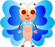 Blauwe butteflyillustratie, Insectillustratie, Beeldverhaalinsect Stock Foto's