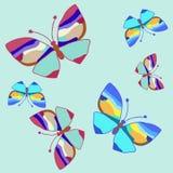 Blauwe butterfly_set Stock Foto
