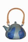 Blauwe ceramische theepot stock afbeeldingen