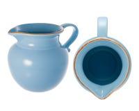 Blauwe ceramische waterkruik Stock Afbeeldingen
