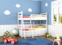 Blauwe children´sruimte met speelgoed Stock Afbeeldingen