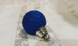 Blauwe christmasornament Stock Foto's