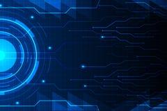 Blauwe cirkel en kringslijn op abstract van technologie futuristisch hud vectorontwerp als achtergrond Royalty-vrije Stock Foto's