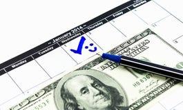 Blauwe cirkel met glimlach en 100USD-geld voor trabel. Teken op Royalty-vrije Stock Foto