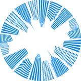 Blauwe cirkelstad royalty-vrije illustratie