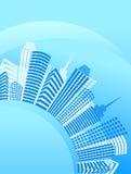 Blauwe cirkelstad met bureaugebouwen Royalty-vrije Stock Afbeelding