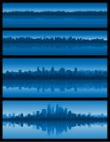 Blauwe cityscape achtergrond Stock Fotografie