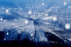 Blauwe cityscape en het netwerk van Tone Hong Kong in abstracte wetenschap of Stock Afbeelding