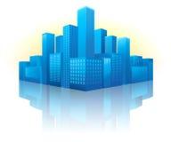 Blauwe cityscape in perspectief Royalty-vrije Stock Afbeelding