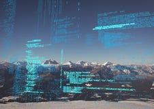 Blauwe code tegen bergen royalty-vrije stock foto's