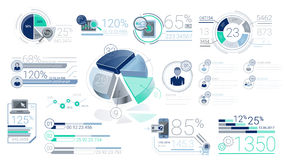 Blauwe Collectieve Infographic-Elementen met Alpha Channel stock illustratie