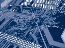Blauwe Computer Mainboard Royalty-vrije Stock Afbeeldingen