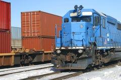 Blauwe containertrein Stock Afbeelding