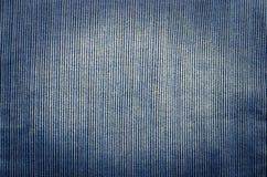 Blauwe corduroy dichte omhooggaande de fotoachtergrond van de stoffentextuur Royalty-vrije Stock Fotografie