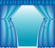 Blauwe courtains Stock Foto's