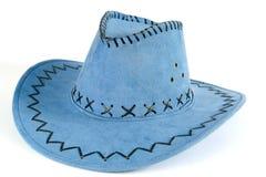 Blauwe cowboyhoed Stock Afbeeldingen