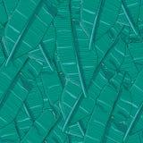 Blauwe, creatieve en modieuze exotische herhaalde het patroonvector van de wildernisbanaan bladeren Royalty-vrije Stock Afbeelding