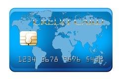 Blauwe creditcard met wereldkaart stock fotografie