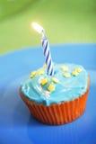 Blauwe cupcake Stock Foto