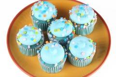 Blauwe Cupcakes stock foto