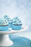 Blauwe cupcakes Royalty-vrije Stock Foto's