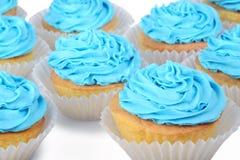 Blauwe cupcakes stock fotografie