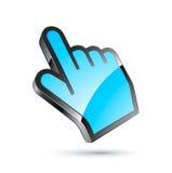 Blauwe curseurhand Stock Foto's