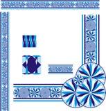 Blauwe cyaan 2 achtergrondgrenshoek stock illustratie