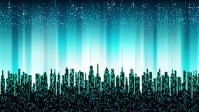 Blauwe cyberspace met verticale glanzende strepen en digitale binaire serie, abstracte achtergrond vector illustratie